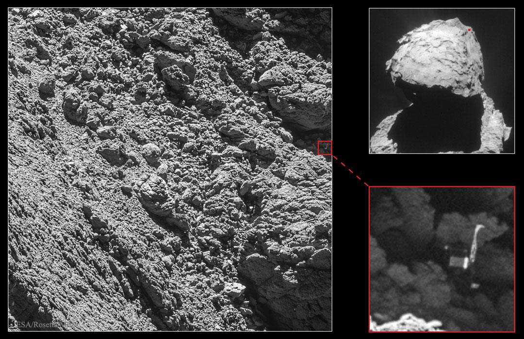 Philae Uzay Aracı 67P Kuyrukluyıldızı'nda Bulundu