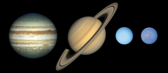 Güneş Sisteminin gaz devleri. Soldan sağa doğru; Jüpiter, Satürn, Uranüs ve Neptün. Telif: Lunar and Planetary Institude