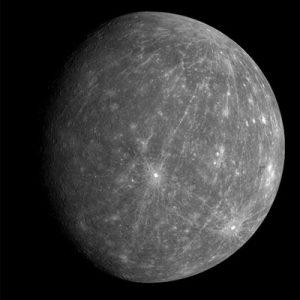 MESSENGER isimli uzay aracı tarafından çekilen Merkür fotoğrafı. Telif: NASA