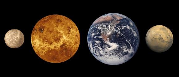Güneş Sistemi'nde bulunan karasal gezegenlerin boyutlarının yaklaşık olarak karşılaştırılması. Soldan sağa doğru; Merkür, Venüs, Dünya ve Mars. Telif: Lunar and Planetary Institute