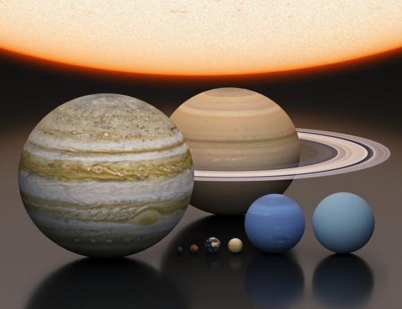 Güneş ve gezegenlerin ölçeklendirişi. Telif: Judy Schmidt, Björn Jónsson