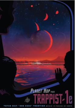 TRAPPIST-1'e bir yolculuğun nasıl olabileceğini gösteren bir poster.
