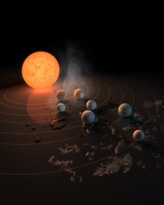 Aşırı soğuk cüce yıldız TRAPPIST-1 ve etrafında turlayan Dünya boyutlarındaki yedi gezegen. Bu sanatçı tasviri, 23 Şubat 2017'de Nature dergisinin kapağında yer aldı.
