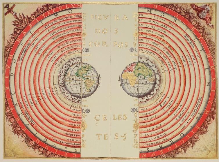 Batlamyusçu Dünya merkezli evren modelinin Portekizli evrenbilimci ve haritacı Bartolomeu Velho tarafından yapılmış bir çizimi, 1568. Wikipedia