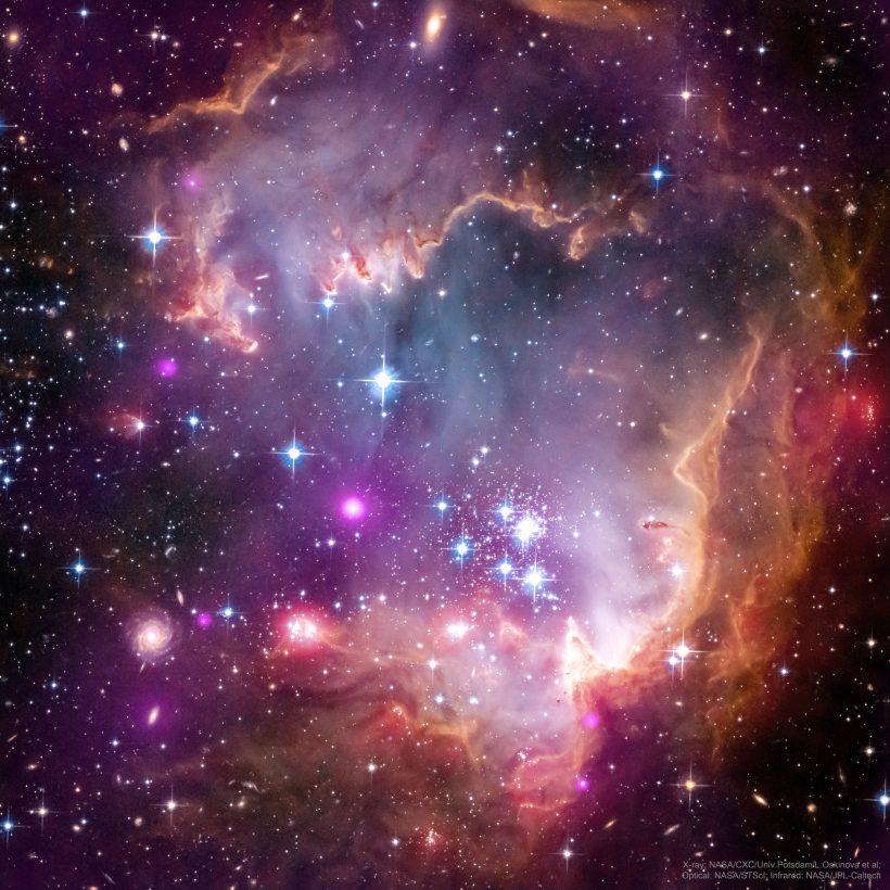 ngc602_ChandraHubbleSpitzer_3600