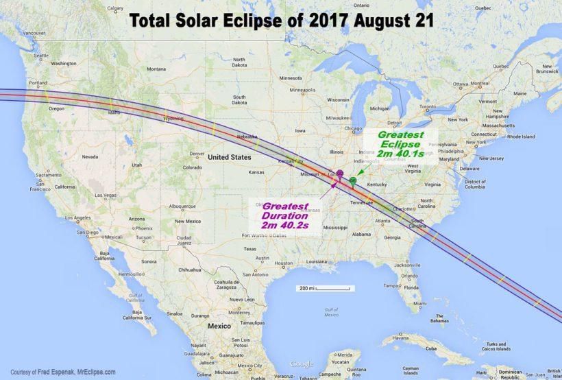 Ağustos 2017'deki Tam Güneş Tutulması Hattının Haritası